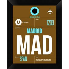 MAD Madrid Luggage Tag 1' Framed Graphic Art Print on Canvas  by Naxart