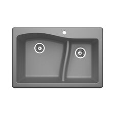 "33"" x 22"" Double Basin Drop-In Kitchen Sink"
