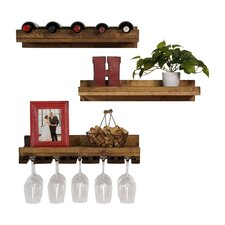 Dunlap 5 Bottle Wall Mounted 3 Piece Wine Bottle and Glass Set