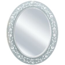 Oval Etched Border Bathroom/Vanity Mirror