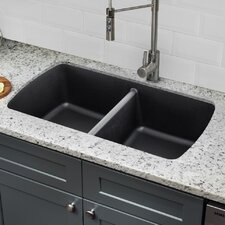 quartz 3375 x 1894 double basin undermount kitchen sink with twist and lock strainer - Kitchen Sink Undermount