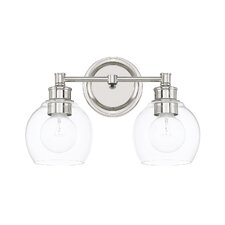 Tyngsborough 2-Light Vanity Light with Clear Glass