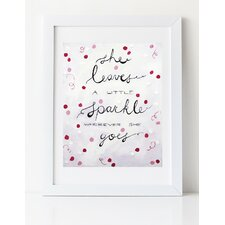 Dream a Little Dream 'Sparkle' by Liz Clay Framed Textual Art in Coral