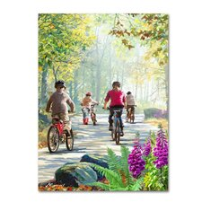 'Cycling Family' Print on Canvas