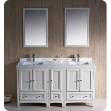 Oxford 60 Double Traditional Bathroom Vanity Set with Mirror by Fresca