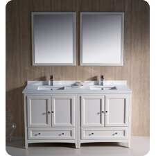 Oxford 60 Double Traditional Bathroom Vanity Set with Mirrors by Fresca