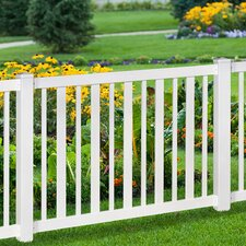 Sturbridge Vinyl Yard and Pool Fence with Post and Steel Pipe Anchor Kit