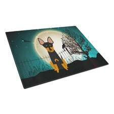 Scary Halloween Glass English Toy Terrier Cutting Board
