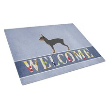 Welcome Dog Glass Toy Fox Terrier Cutting Board