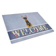 Welcome Dog Glass English Toy Terrier Cutting Board