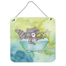 Raccoon Bathing Aluminum Wall Décor