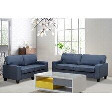 jordan linen 2 piece modern living room sofa and loveseat set - Blue Living Room Set