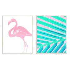 Lulusimon Studio Neon Flamingo Palm Leaf' 2 Piece Lithograph Print Set on Wood by Varick Gallery