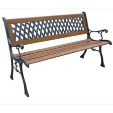 Mesh Resin Wood and Cast Iron Park Bench