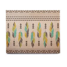 Tribal 'Painted Feathers Cream' Graphic Art Print on Wood