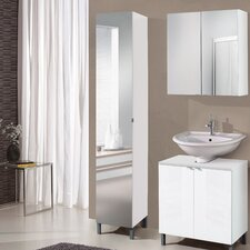 Milan 32 x 182cm Mirrored Free Standing Tall Bathroom Cabinet