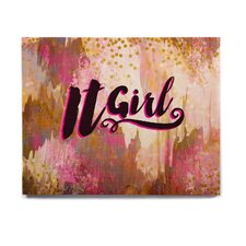 'It Girl-Black And Pink' Textual Art on Wood
