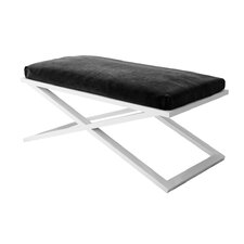 Ahumada X-Base Upholstered Steel Entryway Bench by Everly Quinn