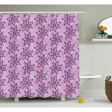 Eva Purple Macro Flower Design With Glamour Leaves Spring Floral Charm Hand Drawn Style Image Shower Curtain