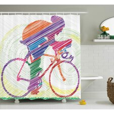 Jill Modern Sketch Hand Drawn Image of a Cycling Man on a Bike With Sun Grass Artwork Shower Curtain