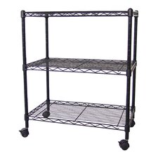 Multi-Purpose 3-Tier Wire Shelving Unit with Casters, 24 In. X 14 In. X 28 In., Black