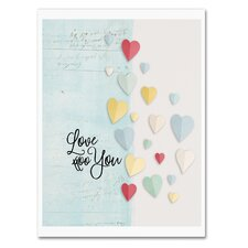 Love You Colorful Hearts' Textual Art on Wrapped Canvas by Trademark