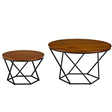 Harper Geometric Wood Coffee Table with Nested Stool