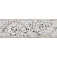 "12"" x 4"" Arabescato Marble Art Border Bullnose Tile Trim in Oyster Gray"
