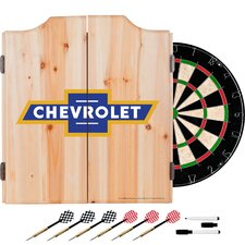 Chevy Super Service Dartboard and Cabinet Set