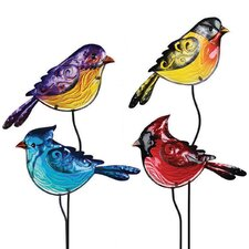 Glass Bird 4 Piece Garden Stake Set