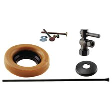 Toilet Kit with Turn Nominal Compression Stop and Wax Ring - Lever Handle