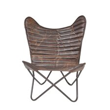 Ruben Cocoa Ribbed Wing Leather Chair