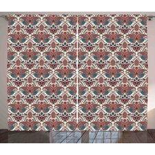 Brislington Paisley Oriental Damask Ethnic Design Persian Effects Feminine Aged Pattern Graphic Print & Text Semi-Sheer Rod Pocket Curtain Panels (Set of 2)