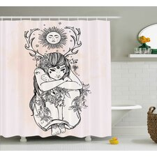 Pink Occult Girl under Sun Shower Curtain