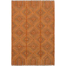 Bilertine Handwoven Wool Burnt Orange Area Rug