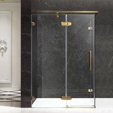 Sultan Series 55.51 x 1 x 78.74 Semi-Frameless Hinged Shower Door by ANZZI