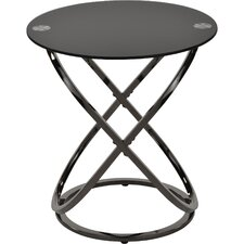 Jerrell Glass and Metal End Table by Ivy Bronx