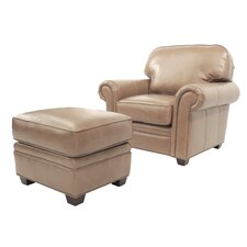 Brentford Leather Club Chair and Ottoman by Darby Home Co