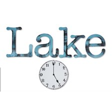 2 Piece Hand Painted Lake Time Wall Décor Set