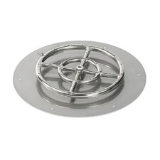 Round Stainless Steel Flat Pan with Spark Ignition Propane Fire Pit Kit (Set of 2)