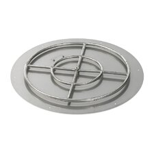 """30"""" High Capacity Round Stainless Steel Flat Pan with Match Light Natural Gas Fire Pit Kit (Set of 2)"""