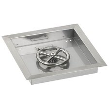 """12"""" Square Stainless Steel Drop-in Pan with Match Light Propane Fire Pit Kit (Set of 2)"""