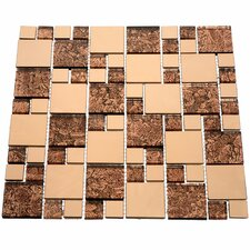 Venetian Random Sized Glass and Aluminum Mosaic Tile in Satin Copper