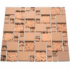 Venetian Random Sized Glass and Aluminum Mosaic Tile in Copper Goddess