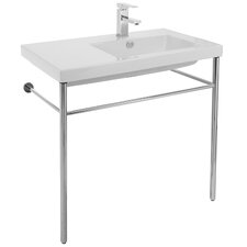 Condal Ceramic 32 Console Bathroom Sink with Overflow by Ceramica Tecla by Nameeks