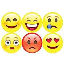 6 Piece Emojis Wall Decal Set