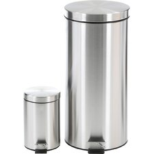 2 Piece Stainless Steel 7.92 Gallon Trash Can Set