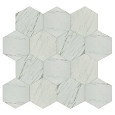 "Marbre Carrara 8.63"" x 9.88"" Porcelain Mosaic Tile in White"