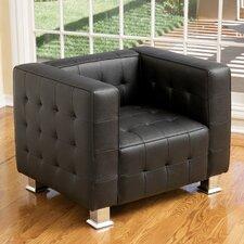 Hallie Leather Tufted Club Chair by Orren Ellis