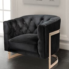 Botkin Frame Tufted Stainless Steel Barrel Chair by Everly Quinn